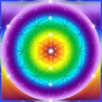 Fleur de vie arc en ciel. Elle apaise les chakras et les transferts d'énergie. Elle harmonise les codes lumière.