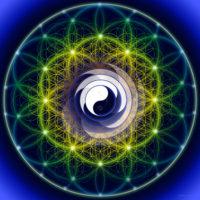 Fleur de vie Yin Yang. Elle aide à tous les travaux sur la résolution des dualités. Son effet général est apaisant.