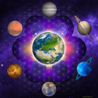 Fleur de vie liée aux planètes – Ce support facilite le travail sur  la mission de vie , les mémoires karmiques et les lignées transgénérationnelles. Idéal aussi pour dépolluer une personne, un lieu ou un objet.